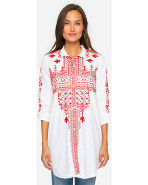Johnny Was Women's Urbana Poplin Blouse , White, hi-res