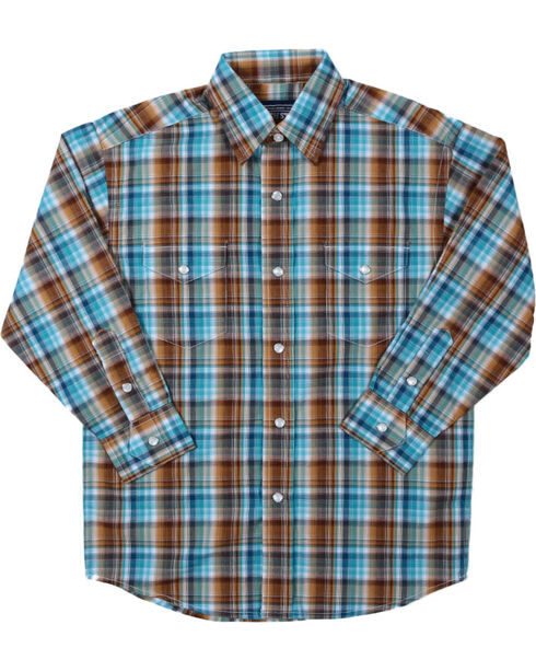 Rough Stock by Panhandle Boys' Plaid Long Sleeve Shirt, Brown/blue, hi-res