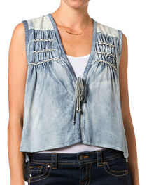 Miss Me Women's Chambray  Aztec Vest, , hi-res