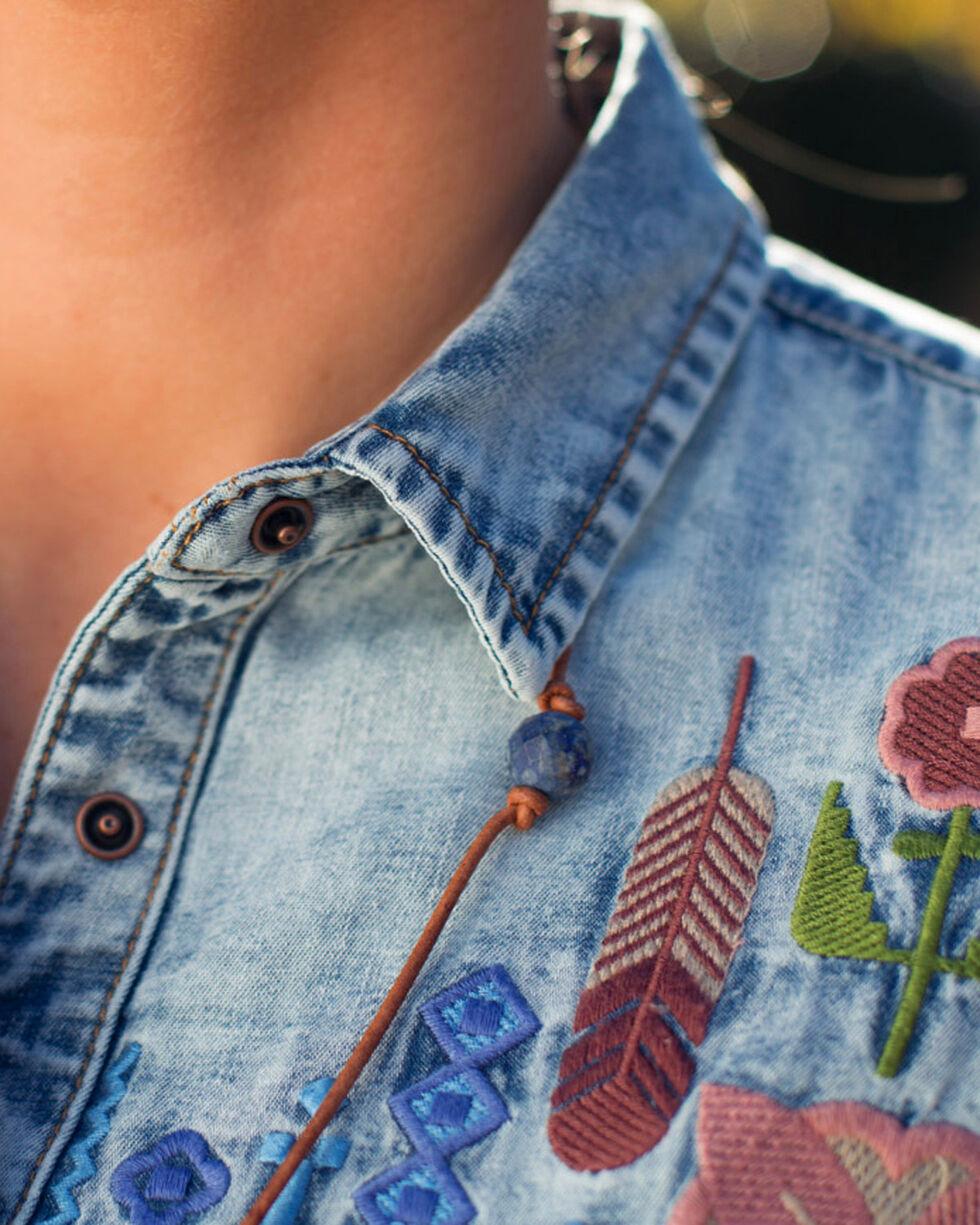 Ryan Michael Women's Indigo Embroidered Denim Shirt , Indigo, hi-res