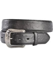 3D Men's Western Leather Ostrich Overlay Belt, , hi-res