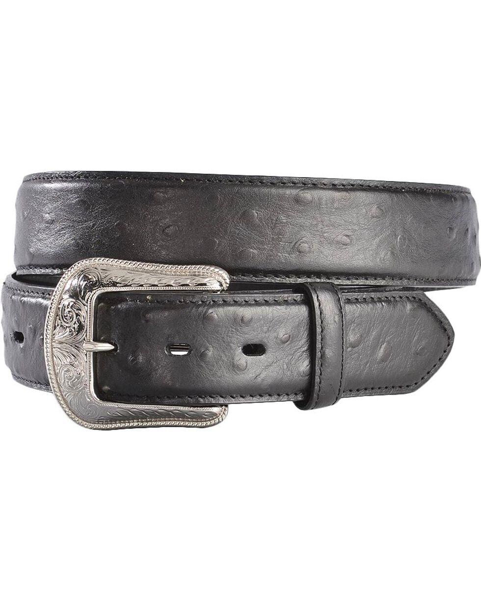 3D Men's Western Leather Ostrich Overlay Belt, Black, hi-res