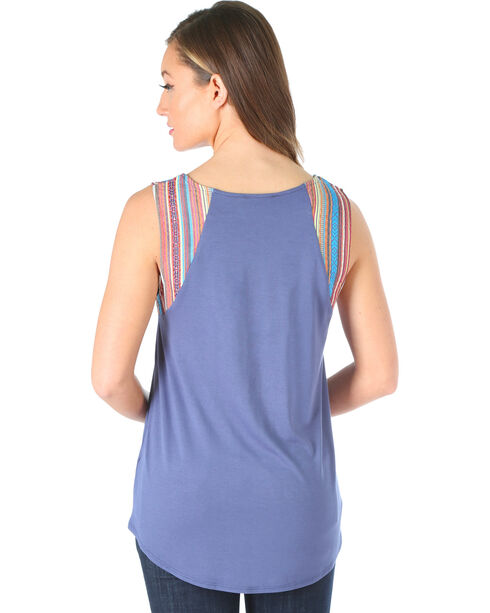 Wrangler Women's Serape Stripe Sleeveless Top, Blue, hi-res