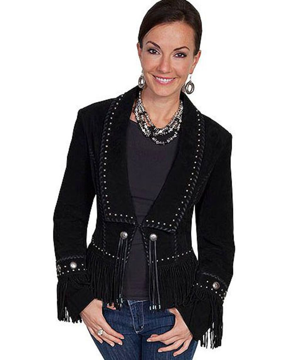 Scully Women's Classic Long Lapel Suede Jacket, Black, hi-res