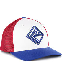 Rock & Roll Cowboy Men's FlexFit Ball Cap, Red/white/blue, hi-res