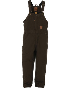 Berne Kids' Bark Washed Insulated Bib Overalls, Olive Green, hi-res