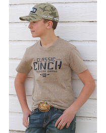 Cinch Boys' American Brand Short Sleeve Tee, Beige/khaki, hi-res