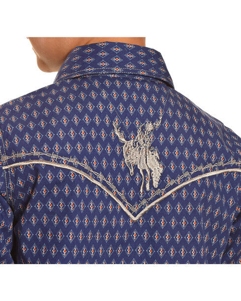 Cowboy Hardware Boys' Navy Dashed Diamond Print Shirt , Navy, hi-res
