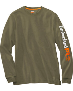 Timberland Pro Men's Logo Long Sleeve T-Shirt, Olive, hi-res