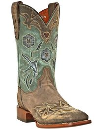 Dan Post Women's Cowgirl Certified Blue Bird Square Toe Western Boots, , hi-res