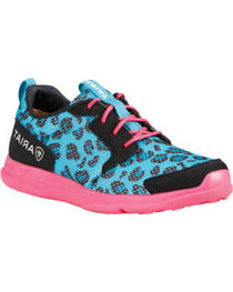 Ariat Girls' Fuse Blue Leopard Mesh Shoes, , hi-res