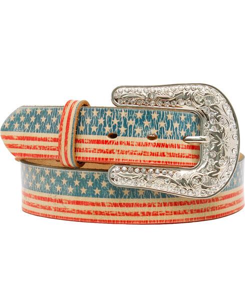 Blazin' Roxx Women's American Flag Leather Belt, Multi, hi-res