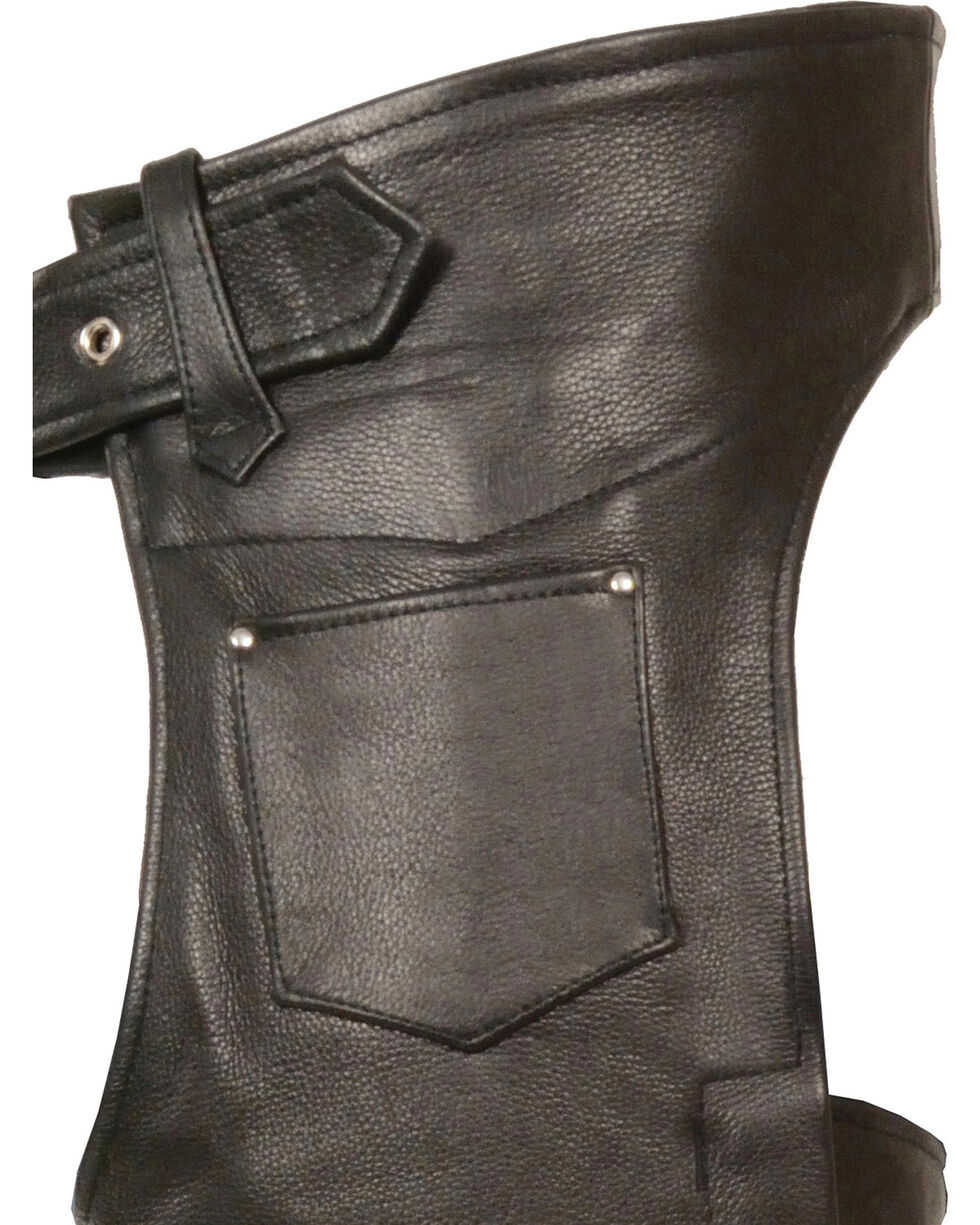 Milwaukee Leather Men's Fully Lined Naked Cowhide Chaps - 4X, Black, hi-res