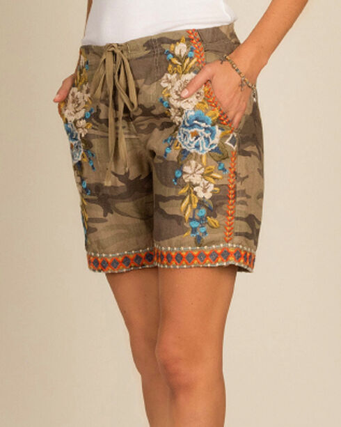 Johnny Was Women's Camo Hira Linen Shorts , Camouflage, hi-res