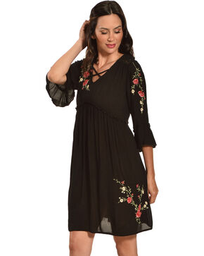 Bila Women's Black Crinkle Embroidered Floral Dress , Black, hi-res