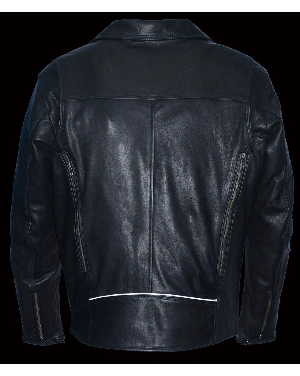 Milwaukee Leather Men's Black Lightweight Extra Long Biker Jacket - Big 5X , Black, hi-res