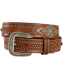 Ariat Studded Basketweave Leather Belt, , hi-res