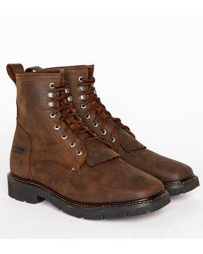 Cody James® Men's Waterproof Lace-Up Western Work Boots, Brown, hi-res