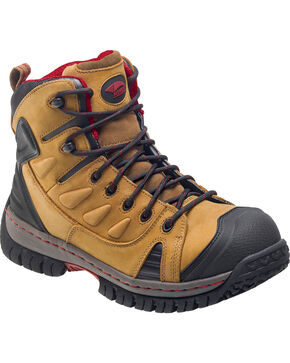 """Avenger Women's 6"""" Lace Up Steel Toe Work Boots, Brown, hi-res"""