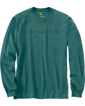 Carhartt Signature Logo Sleeve Knit T-Shirt, Blue, hi-res