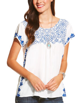 Ariat Women's Floral Embroidered Short Sleeve Shirt, White, hi-res