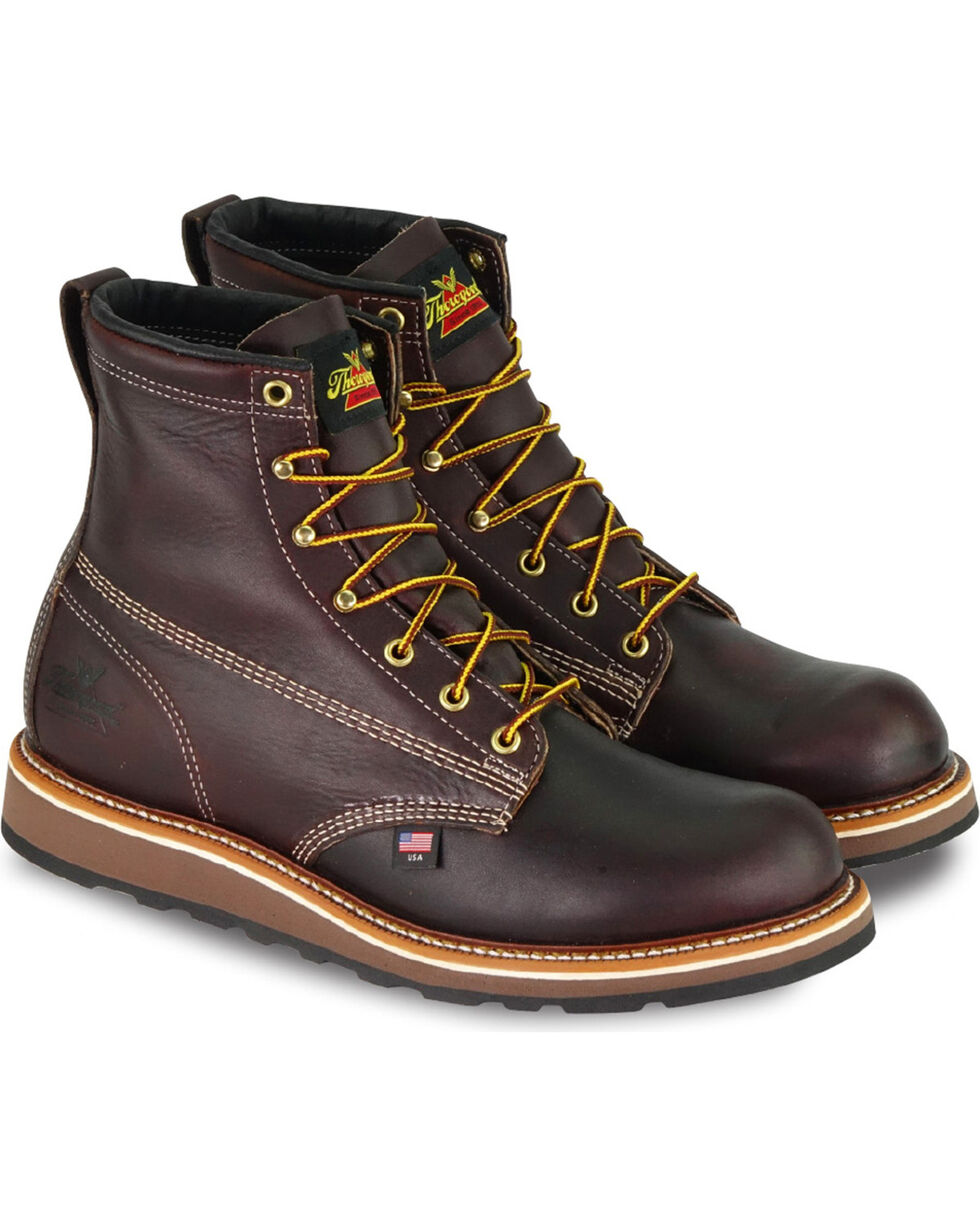 "Thorogood Men's 6"" American Heritage Dual Density Wedge Sole Work Boots - Soft Toe , Dark Brown, hi-res"