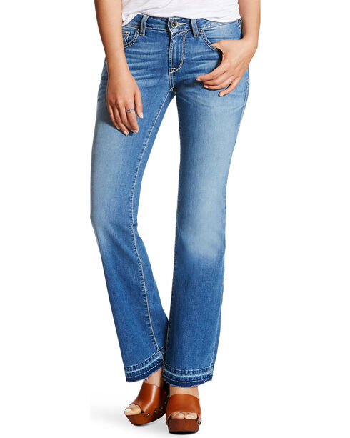 Ariat Women's Ultra Stretch Mid Rise Cropped Jeans - Straight, Indigo, hi-res
