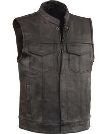 Milwaukee Leather Men's Black Open Neck Club Style Vest , Black, hi-res