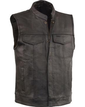 Milwaukee Leather Men's Black Open Neck Club Style Vest - Big 5X, Black, hi-res