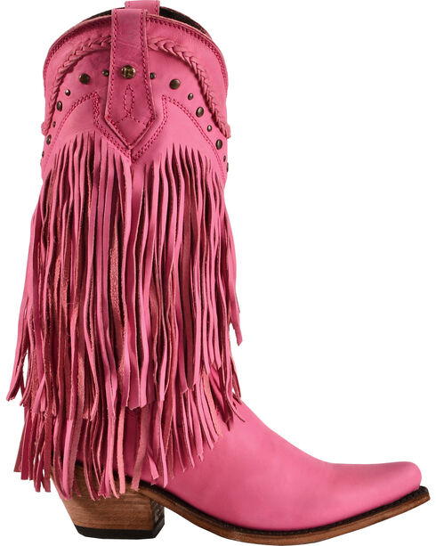 Liberty Black Vegas Fringe Boots - Pointed Toe, Pink, hi-res