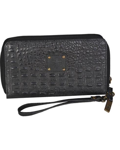 STS Ranchwear Black Kacy Croc Leather Organizer , Black, hi-res