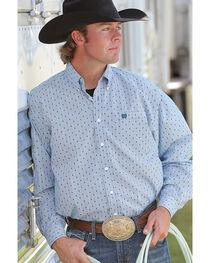 Cinch Men's Teal Plain Weave Print Long Sleeve Button Down Shirt, , hi-res
