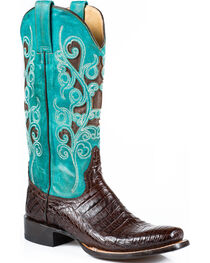 Stetson Women's Alia Brown Caiman Turquoise Inlay Western Boots - Square Toe, , hi-res