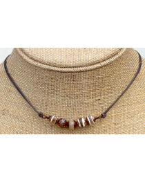 InspireDesigns Women's Brown Agate Bar On Cord Choker , , hi-res