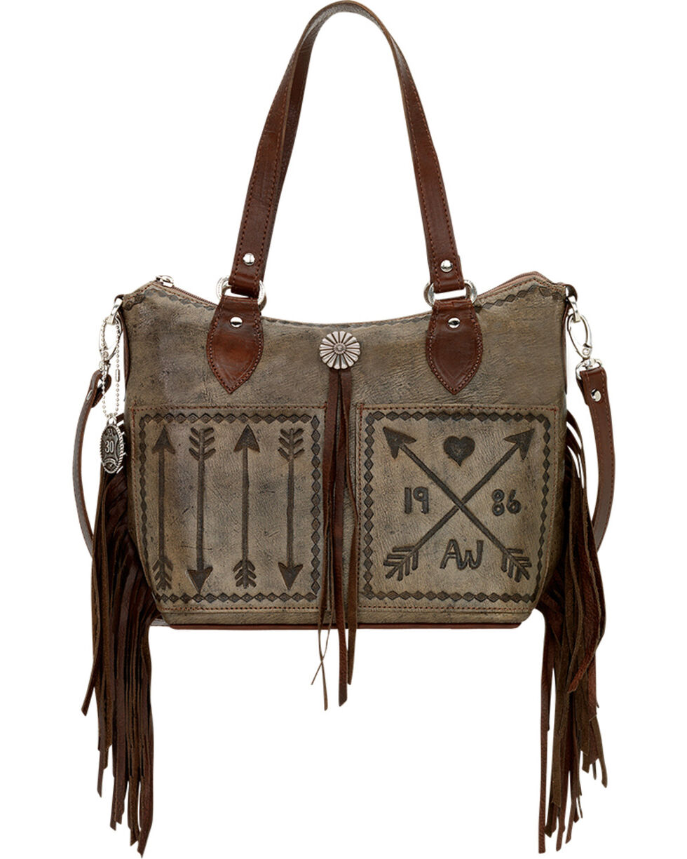 American West Women's Cross My Heart Convertible Zip Top Bucket Tote, Rustic Brn, hi-res