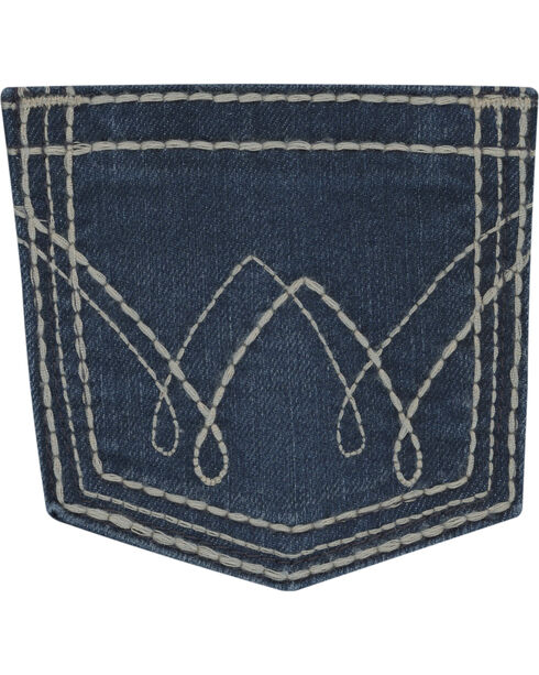 Wrangler Girls' Indigo Double Stitch Pocket Jeans - Boot Cut , Indigo, hi-res