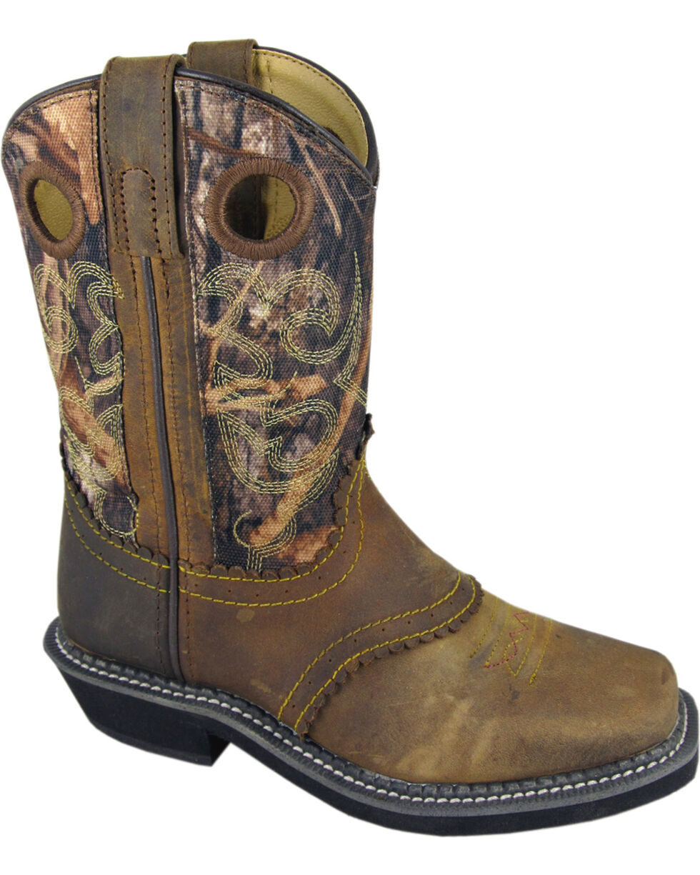 Smoky Mountain Youth Boys' Pawnee Camo Western Boots - Square Toe, Brown, hi-res