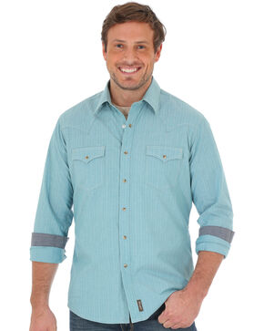 Wrangler Retro Men's Teal Long Sleeve Shirt , Teal, hi-res