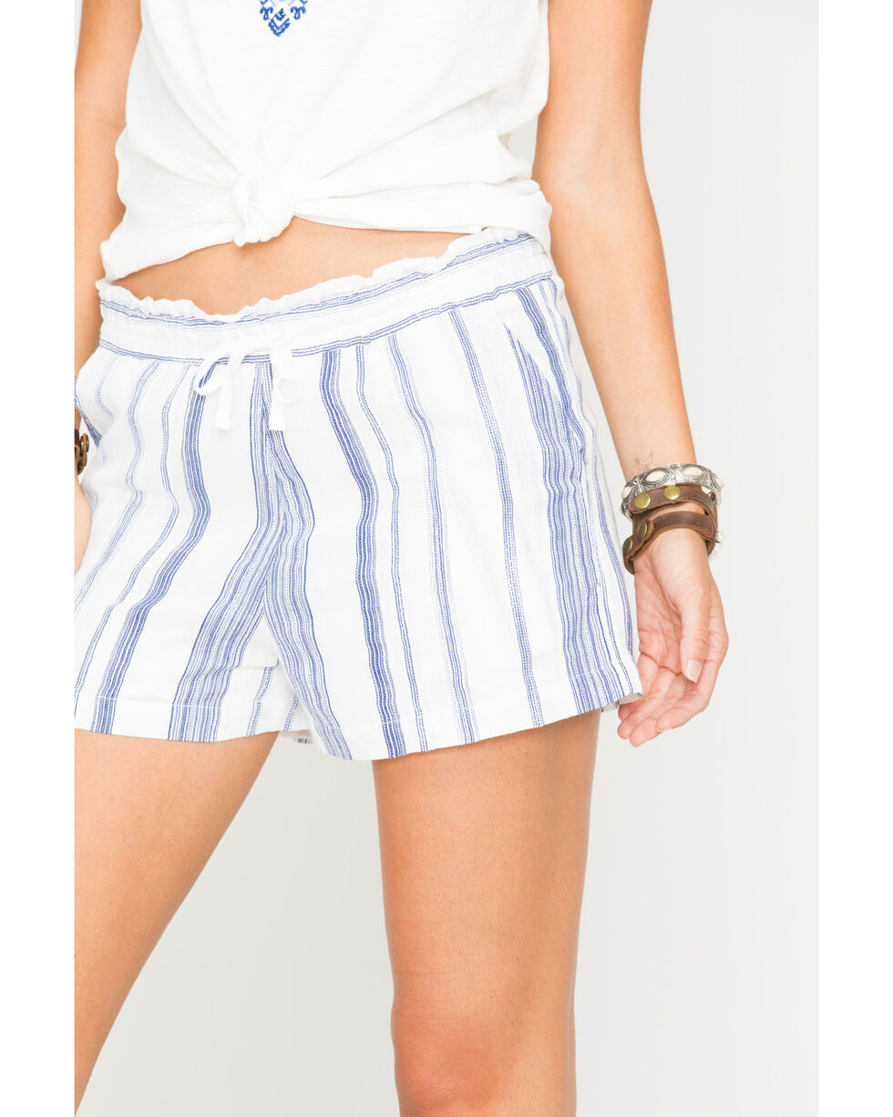Miss Me Women's Along These Lines Stripe Shorts, Off White, hi-res