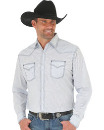 Wrangler 20X Men's White/Blue Competition Advanced Comfort Snap Shirt - Big & Tall, , hi-res