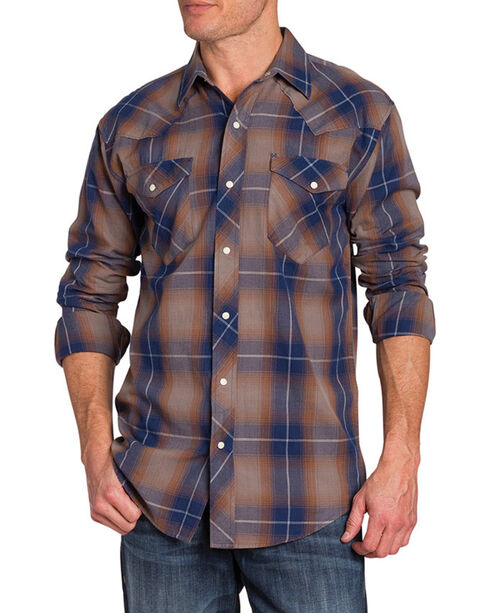 Resistol Double Men's Lyman Plaid Long Sleeve Shirt, Tan, hi-res