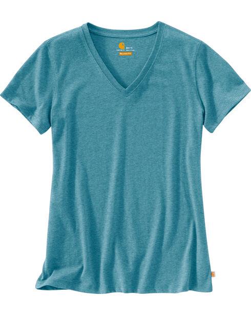 Carhartt Women's Lockhart Short Sleeve V-Neck T-Shirt, Light Blue, hi-res
