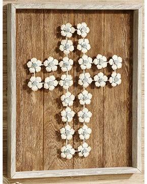 BB Ranch Wooden Plank & Flower Cross Design Wall Art, White, hi-res
