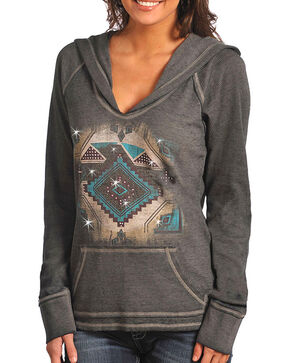 Rock & Roll Cowgirl Women's Aztec Thermal Hoodie, Charcoal, hi-res