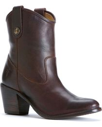 Frye Women's Jackie Button Short Western Boots, Chocolate, hi-res