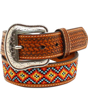 Nocona Boys' Embroidered Belt, Tan, hi-res