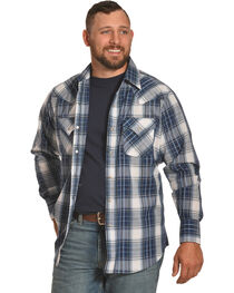 Ely Cattleman Men's Blue Textured Plaid Shirt , , hi-res
