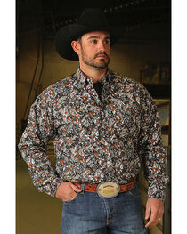 Cinch Men's Classic Fit Paisley Print Long Sleeve Button Down Shirt, , hi-res