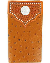 Nocona Men's Ostrich Rodeo Wallet and Checkbook Cover, , hi-res