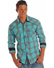 Rock & Roll Cowboy Men's Plaid Long Sleeve Snap Shirt, , hi-res